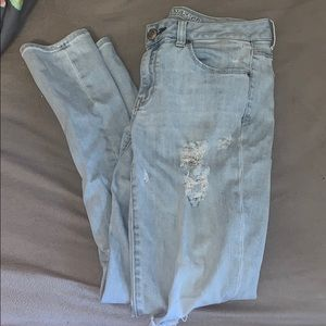 AE light wash distressed jeans